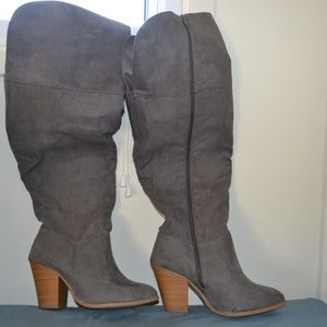 Gray Wide Calf Boots